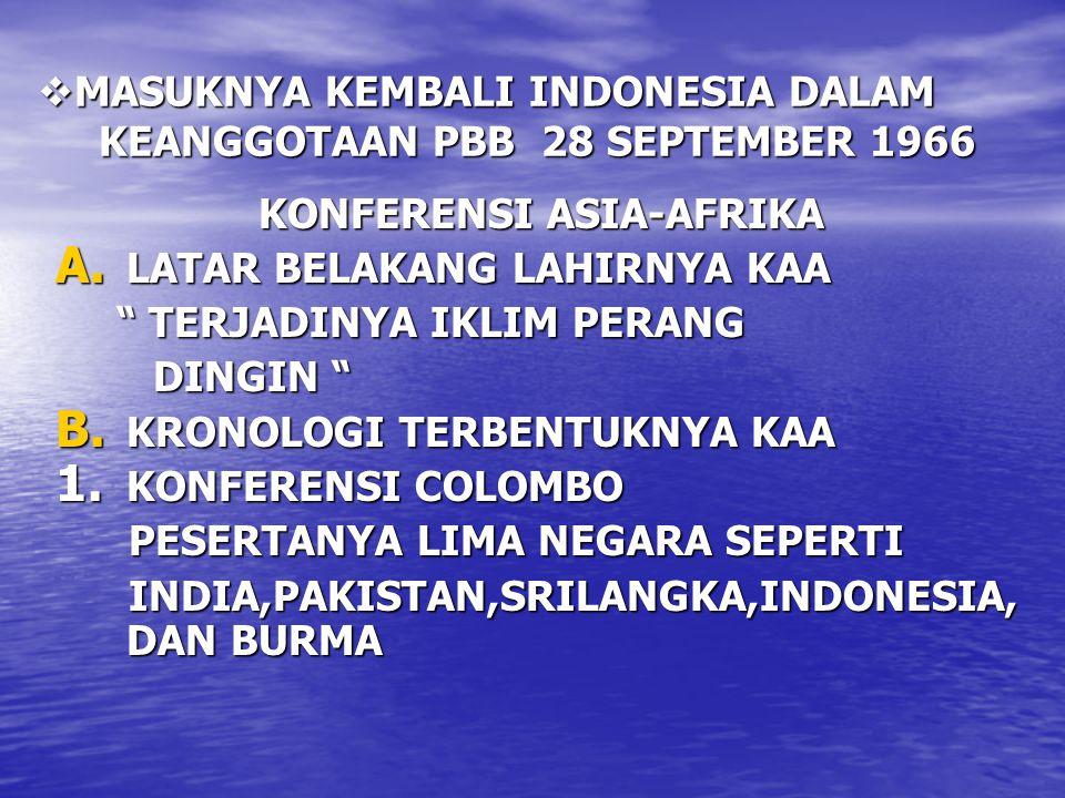 MASUKNYA KEMBALI INDONESIA DALAM KEANGGOTAAN PBB 28 SEPTEMBER 1966