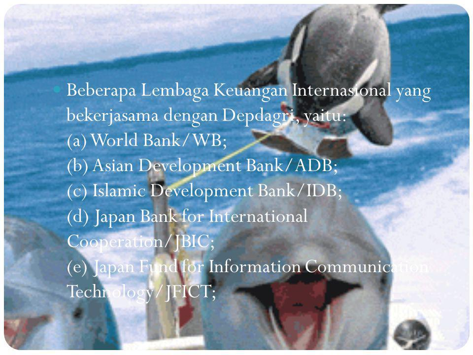 Beberapa Lembaga Keuangan Internasional yang bekerjasama dengan Depdagri, yaitu: (a) World Bank/WB; (b) Asian Development Bank/ADB; (c) Islamic Development Bank/IDB; (d) Japan Bank for International Cooperation/JBIC; (e) Japan Fund for Information Communication Technology/JFICT;
