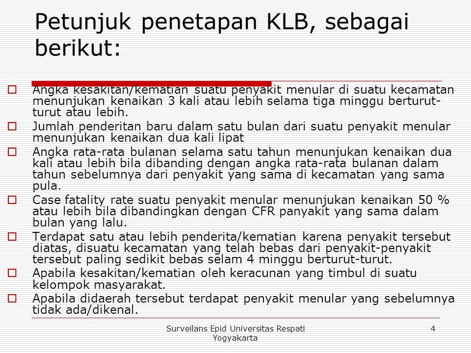 Petunjuk penetapan KLB, sebagai berikut: