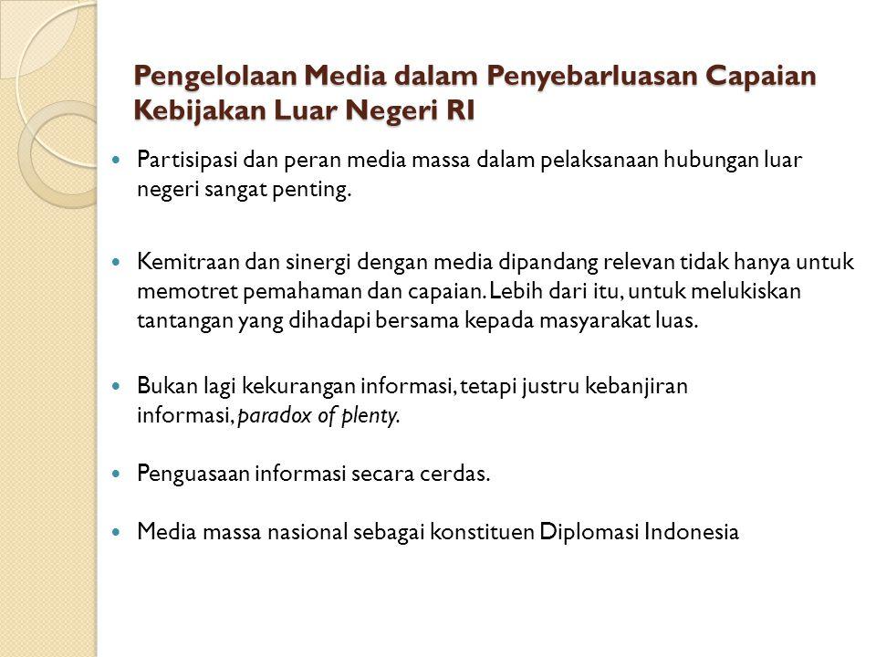 Pengelolaan Media dalam Penyebarluasan Capaian Kebijakan Luar Negeri RI
