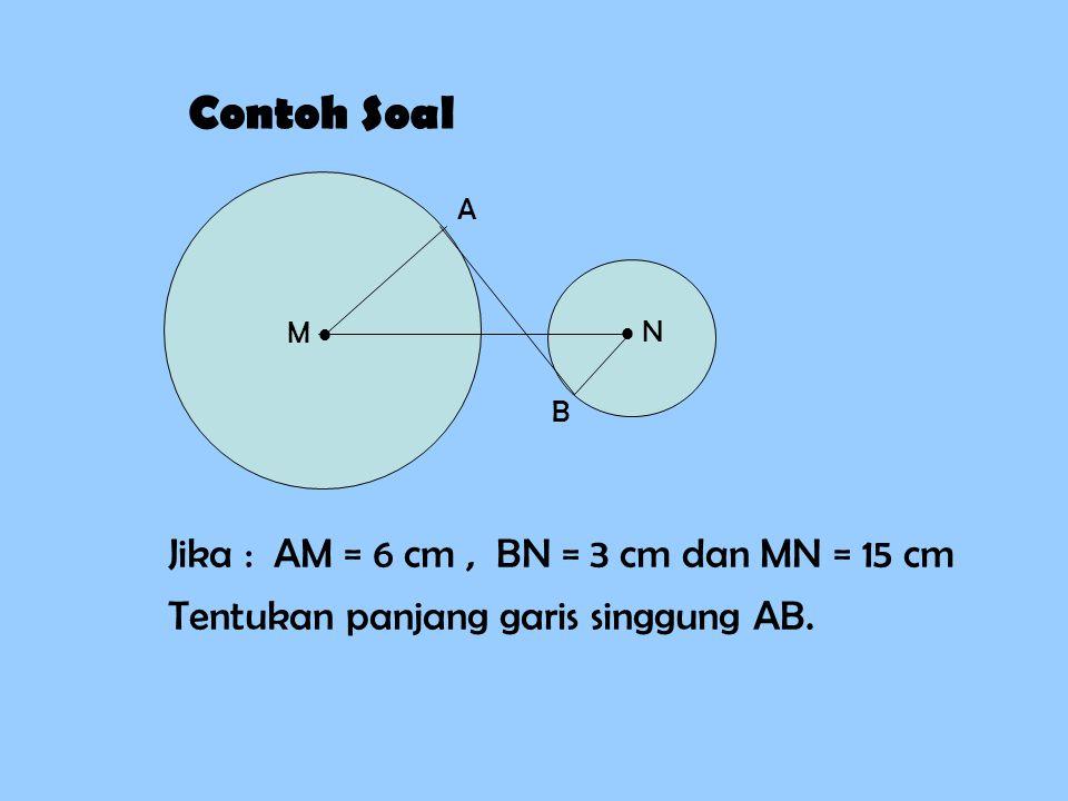 Contoh Soal Jika : AM = 6 cm , BN = 3 cm dan MN = 15 cm