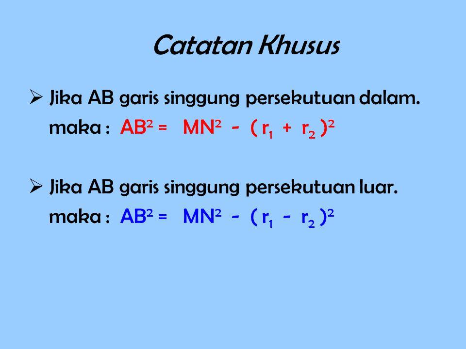 Catatan Khusus  Jika AB garis singgung persekutuan dalam.
