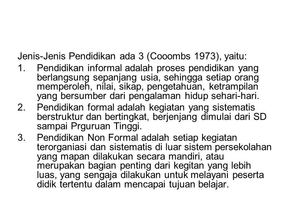 Jenis-Jenis Pendidikan ada 3 (Cooombs 1973), yaitu: