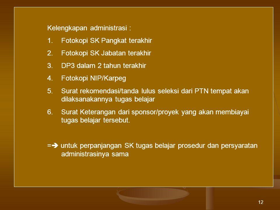 Kelengkapan administrasi :