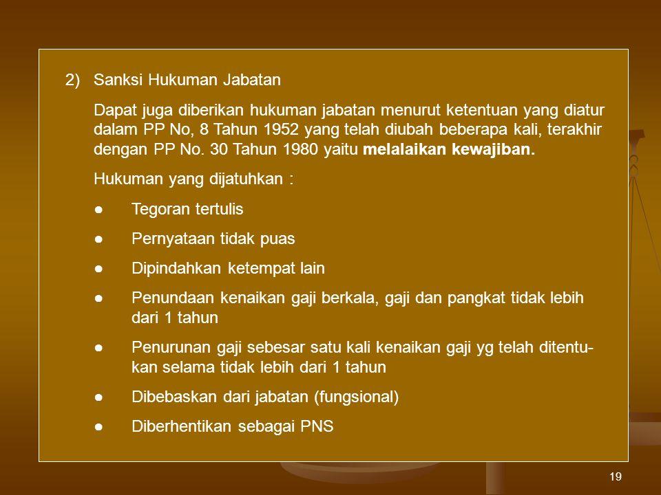 2) Sanksi Hukuman Jabatan