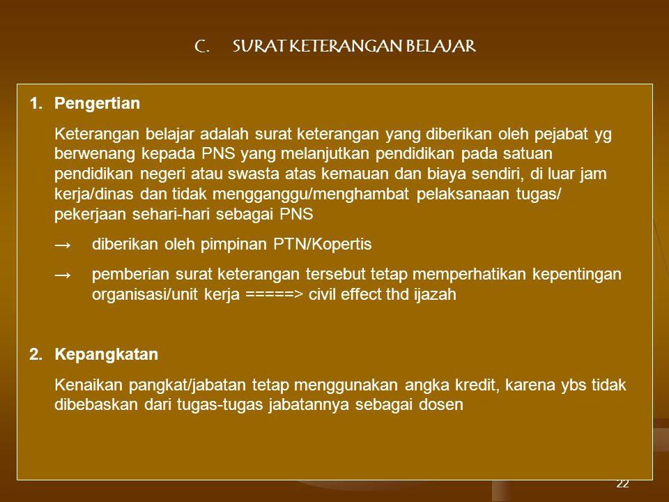 C. SURAT KETERANGAN BELAJAR