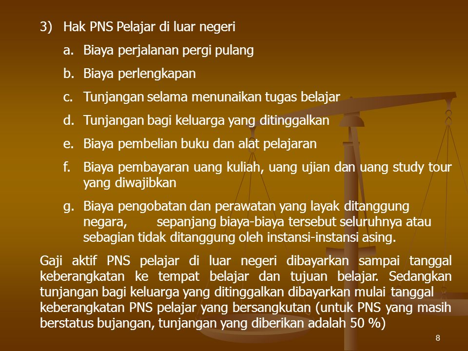 3) Hak PNS Pelajar di luar negeri