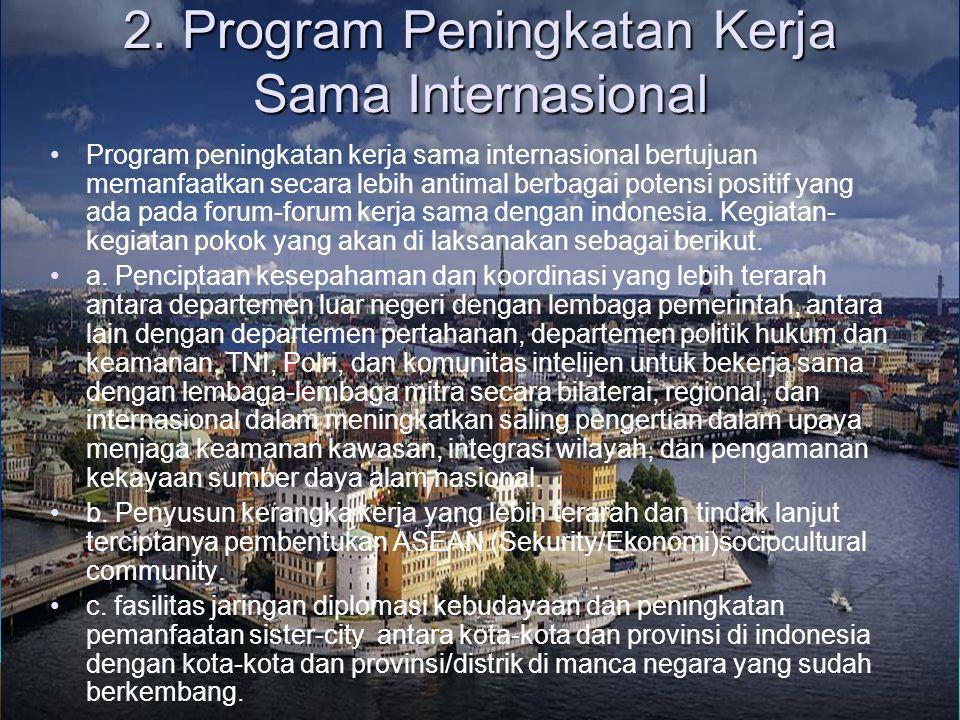 2. Program Peningkatan Kerja Sama Internasional