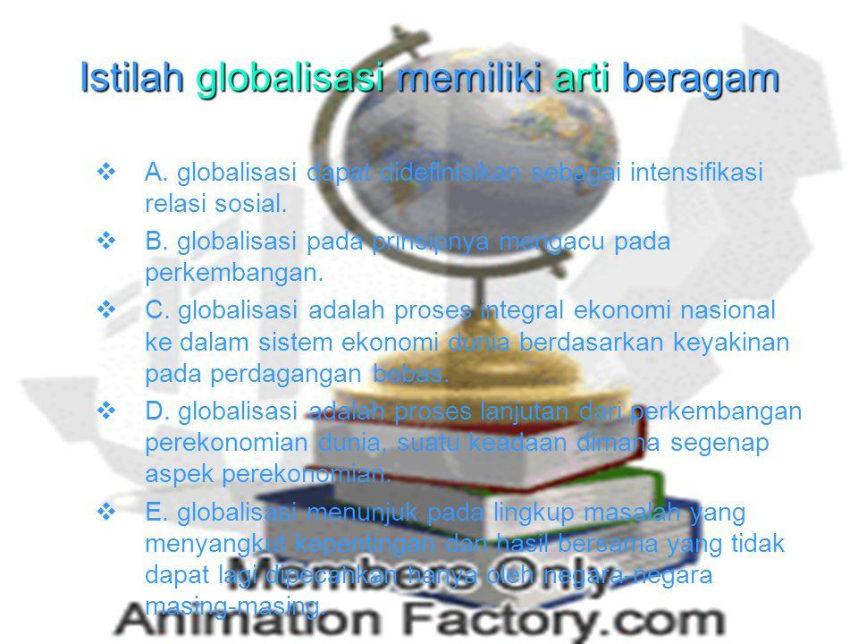 Istilah globalisasi memiliki arti beragam