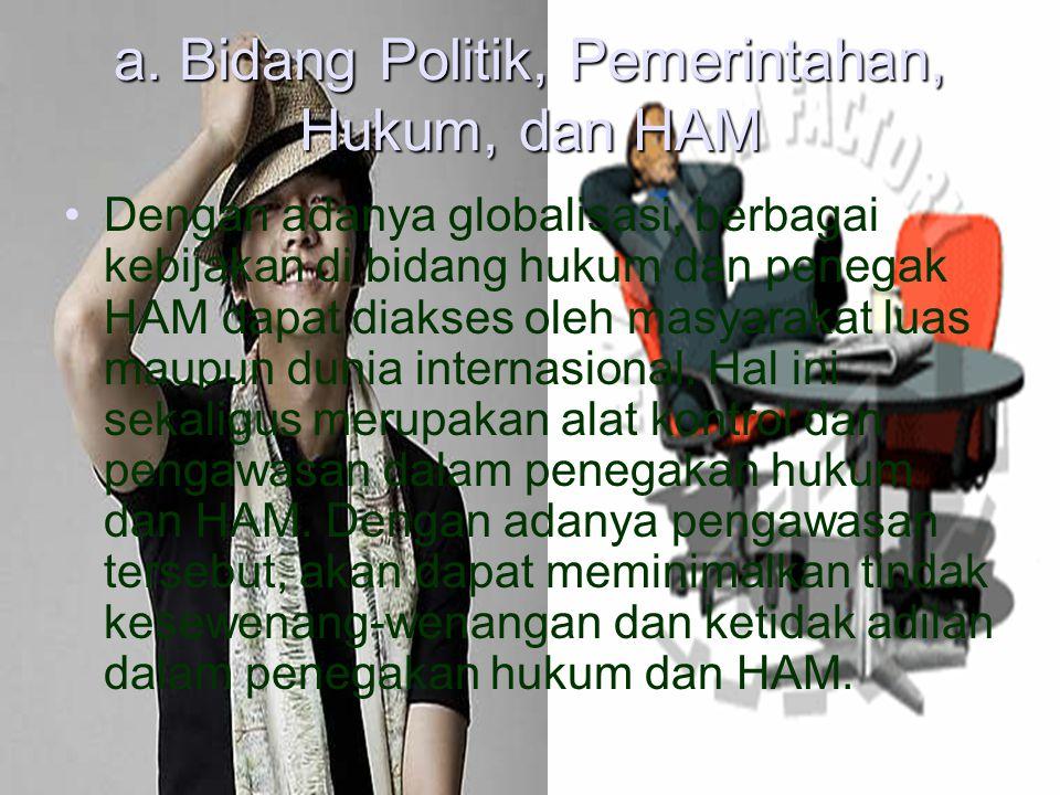 a. Bidang Politik, Pemerintahan, Hukum, dan HAM