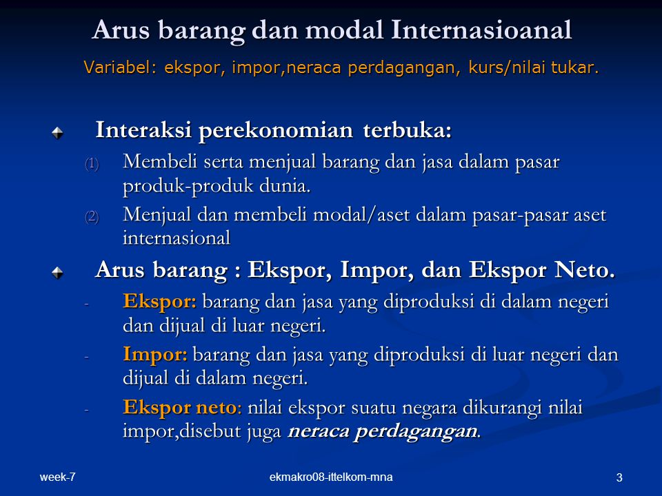 Arus barang dan modal Internasioanal