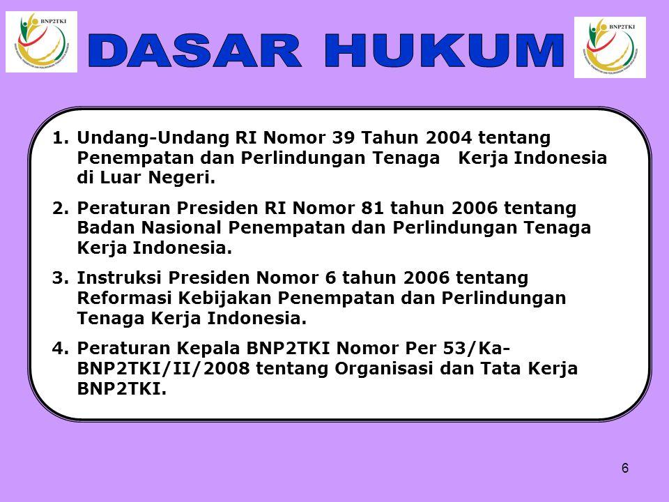 DASAR HUKUM Undang-Undang RI Nomor 39 Tahun 2004 tentang Penempatan dan Perlindungan Tenaga Kerja Indonesia di Luar Negeri.