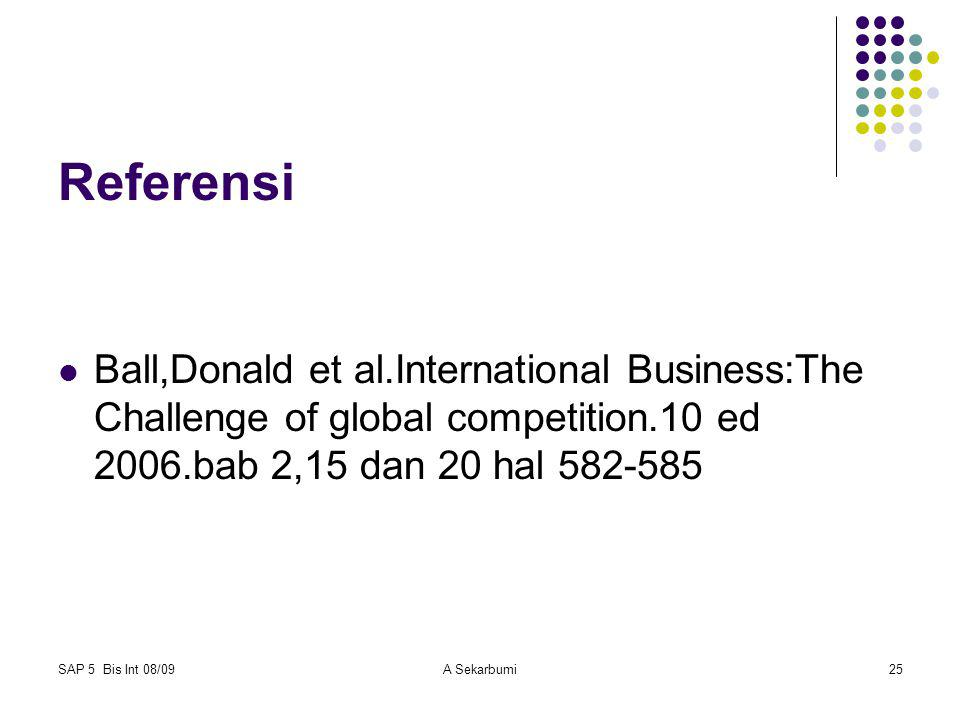 Referensi Ball,Donald et al.International Business:The Challenge of global competition.10 ed 2006.bab 2,15 dan 20 hal 582-585.