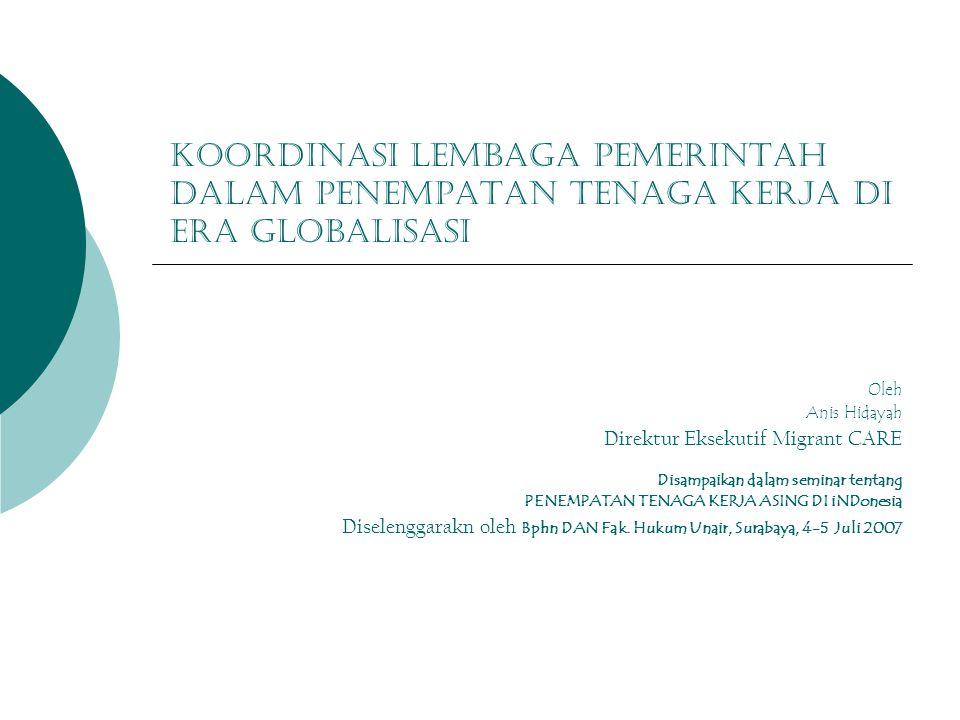 Koordinasi lembaga pemerintah dalam penempatan tenaga kerja di era globalisasi