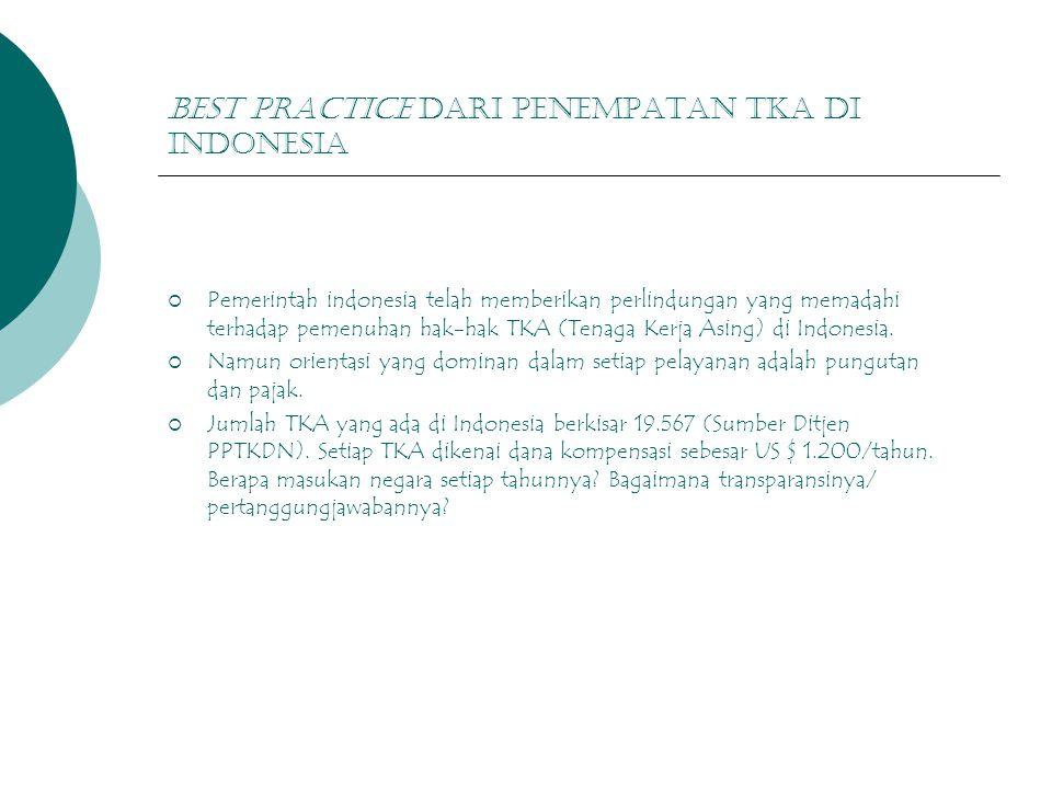 Best practice dari penempatan tka di indonesia