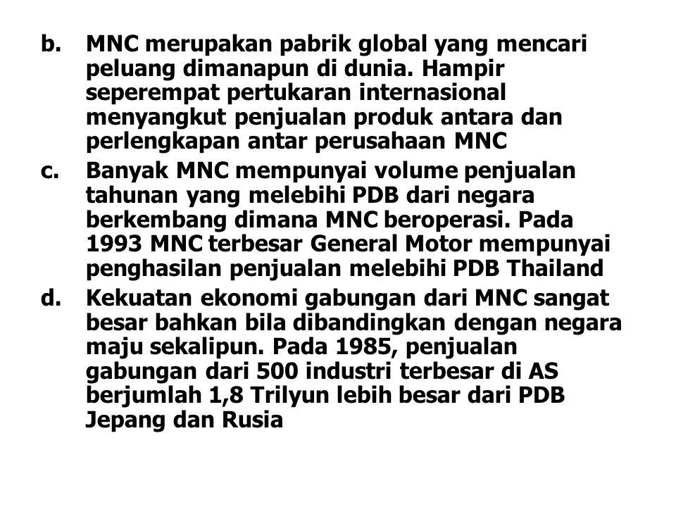 MNC merupakan pabrik global yang mencari peluang dimanapun di dunia