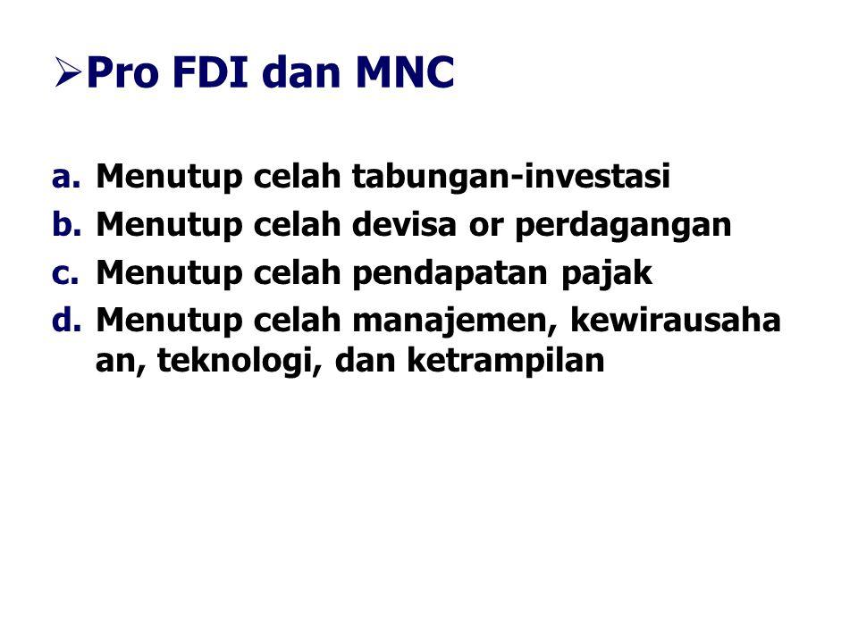 Pro FDI dan MNC Menutup celah tabungan-investasi