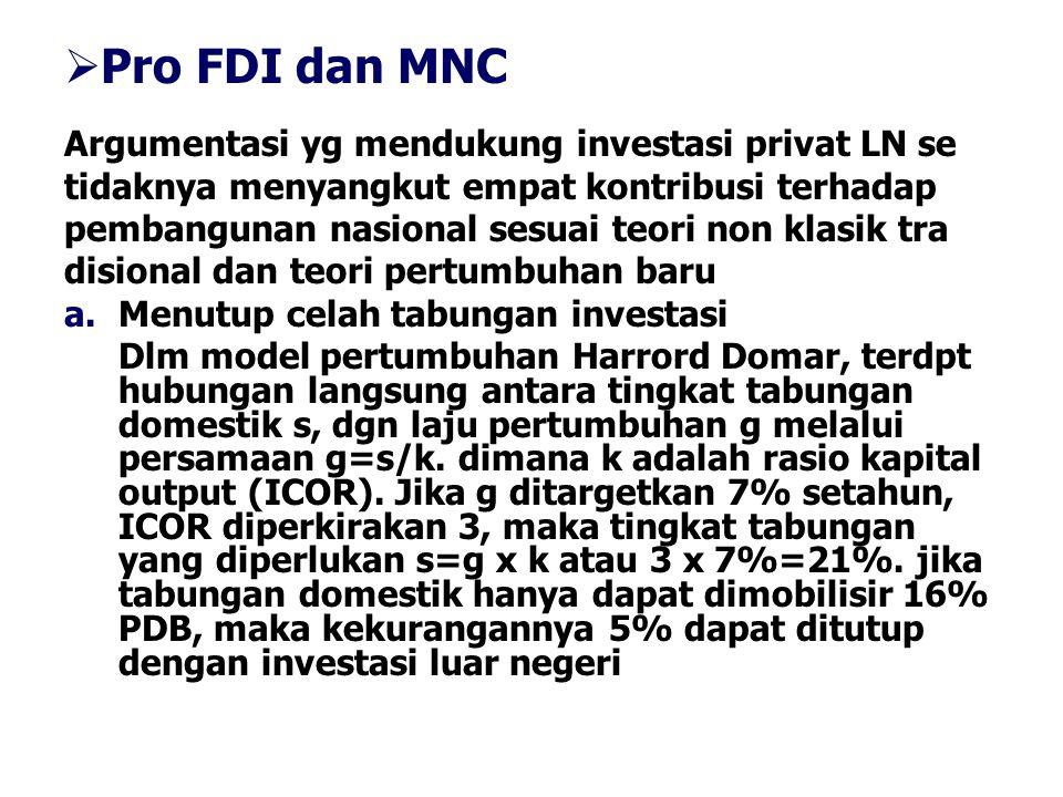 Pro FDI dan MNC Argumentasi yg mendukung investasi privat LN se