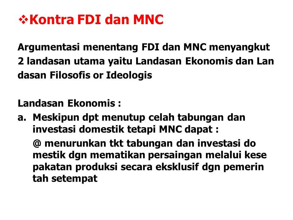 Kontra FDI dan MNC Argumentasi menentang FDI dan MNC menyangkut