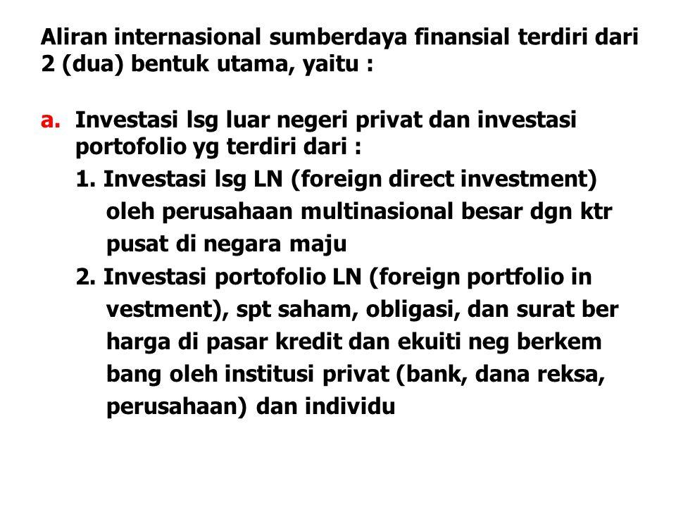 Aliran internasional sumberdaya finansial terdiri dari 2 (dua) bentuk utama, yaitu :