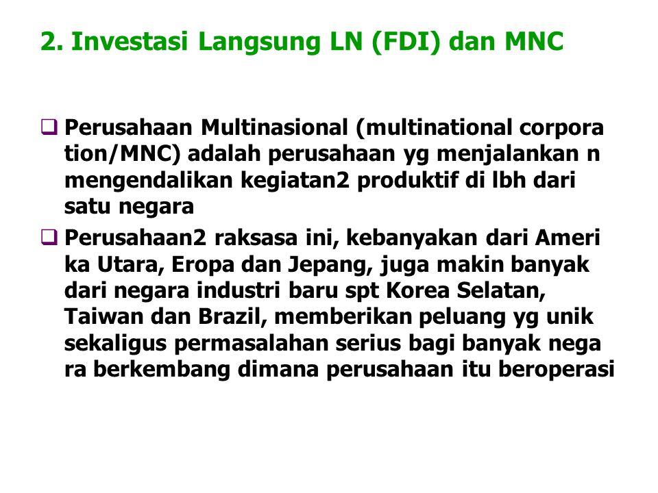 2. Investasi Langsung LN (FDI) dan MNC