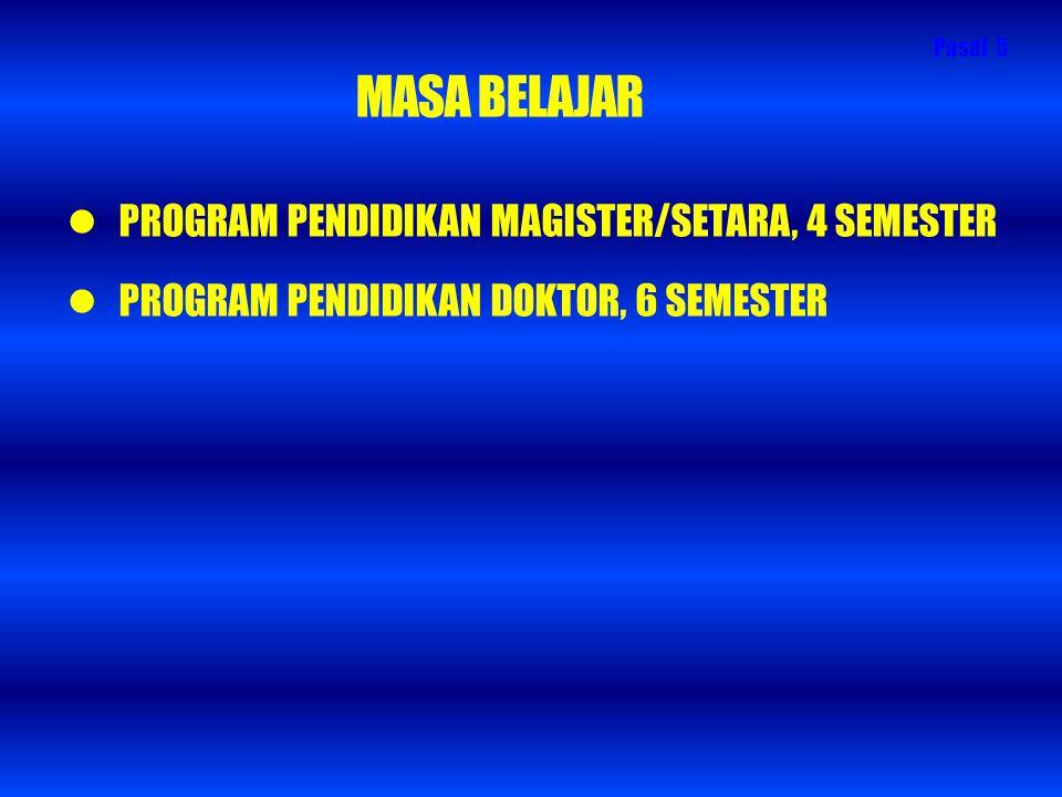 MASA BELAJAR PROGRAM PENDIDIKAN MAGISTER/SETARA, 4 SEMESTER