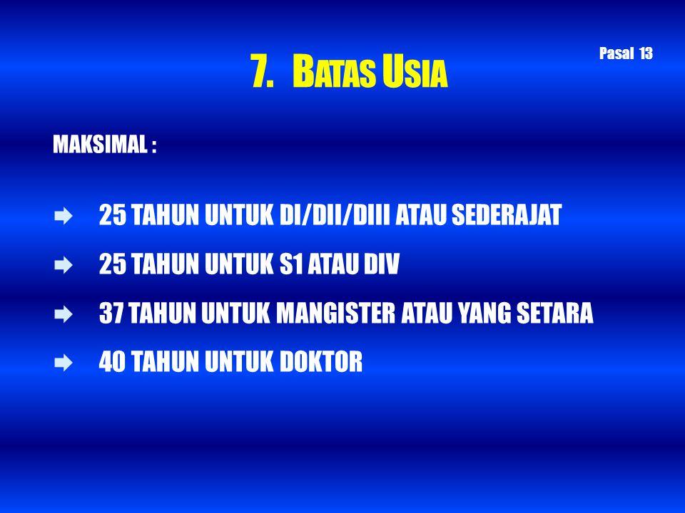 7. BATAS USIA 25 TAHUN UNTUK DI/DII/DIII ATAU SEDERAJAT