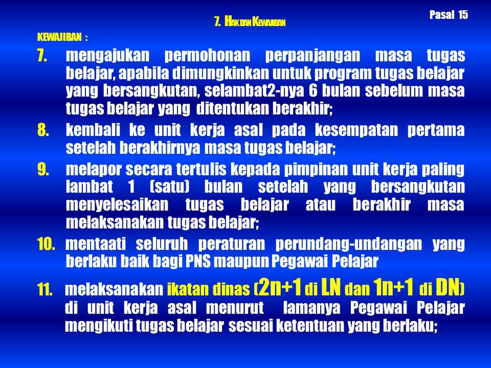 7. HAK DAN KEWAJIBAN Pasal 15. KEWAJIBAN :