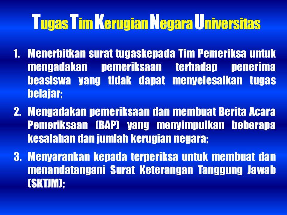 Tugas Tim Kerugian Negara Universitas