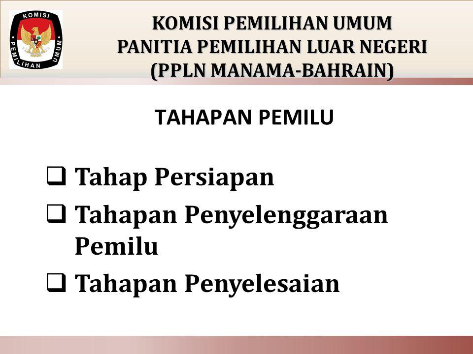Tahap Persiapan Tahapan Penyelenggaraan Pemilu Tahapan Penyelesaian