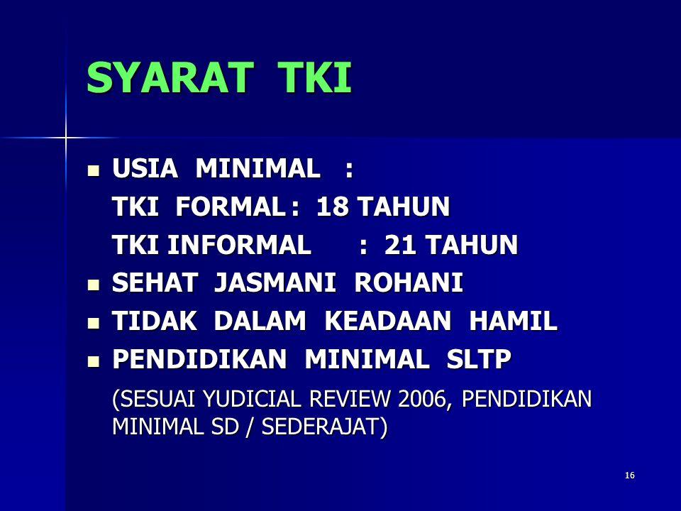 SYARAT TKI USIA MINIMAL : TKI FORMAL : 18 TAHUN