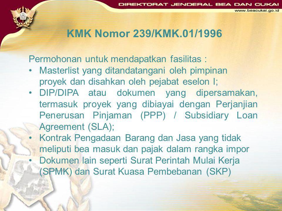 KMK Nomor 239/KMK.01/1996 Permohonan untuk mendapatkan fasilitas :