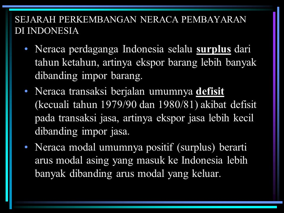 SEJARAH PERKEMBANGAN NERACA PEMBAYARAN DI INDONESIA