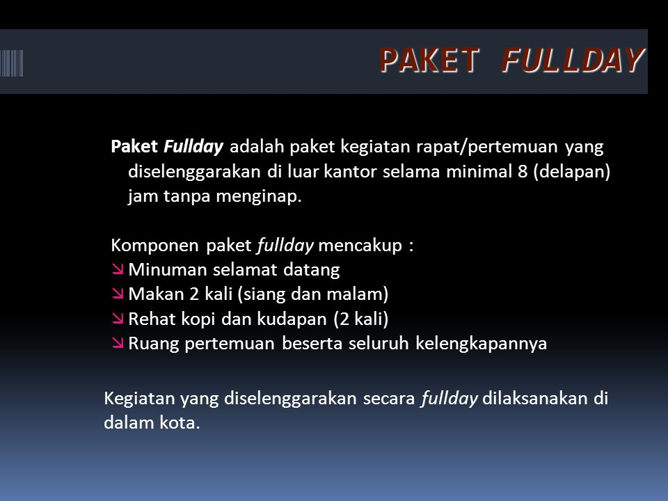 PAKET FULLDAY