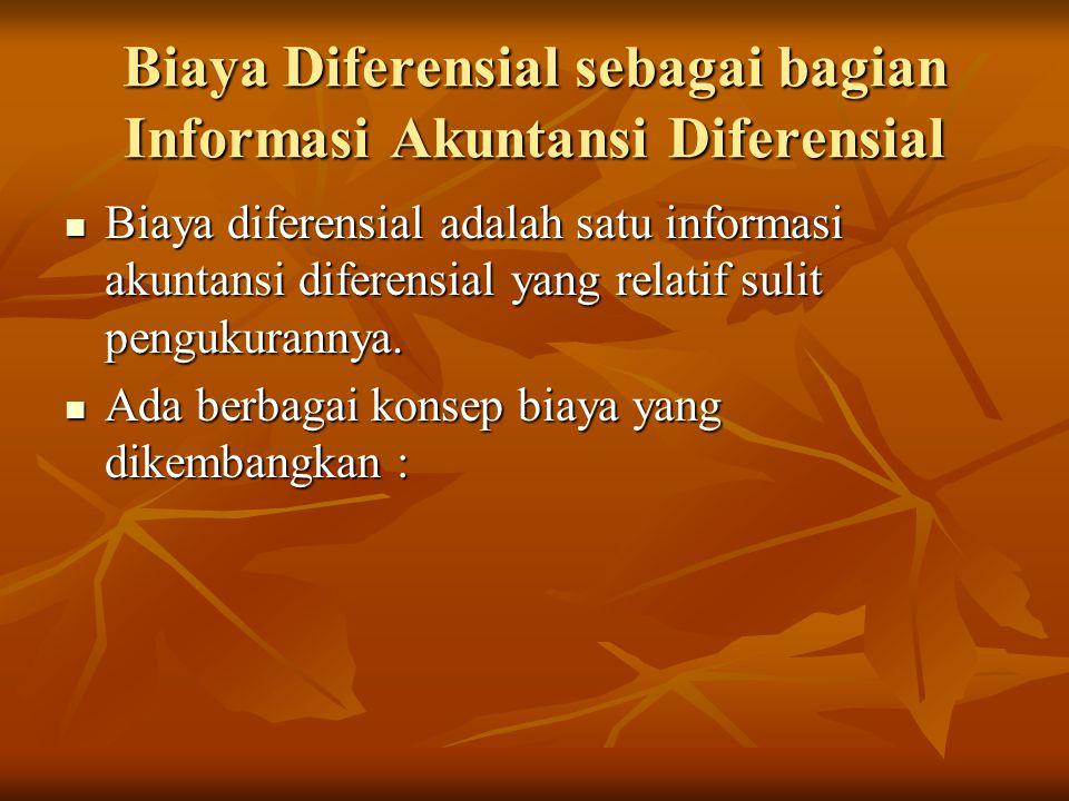 Biaya Diferensial sebagai bagian Informasi Akuntansi Diferensial