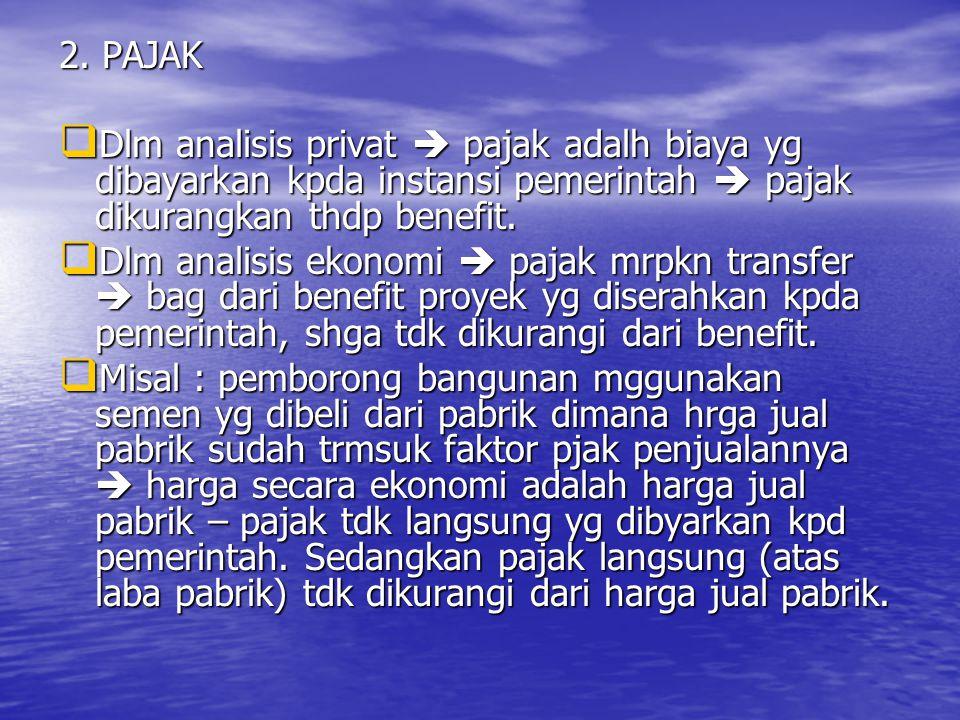 2. PAJAK Dlm analisis privat  pajak adalh biaya yg dibayarkan kpda instansi pemerintah  pajak dikurangkan thdp benefit.