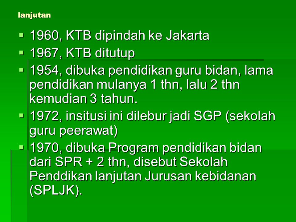 1960, KTB dipindah ke Jakarta 1967, KTB ditutup