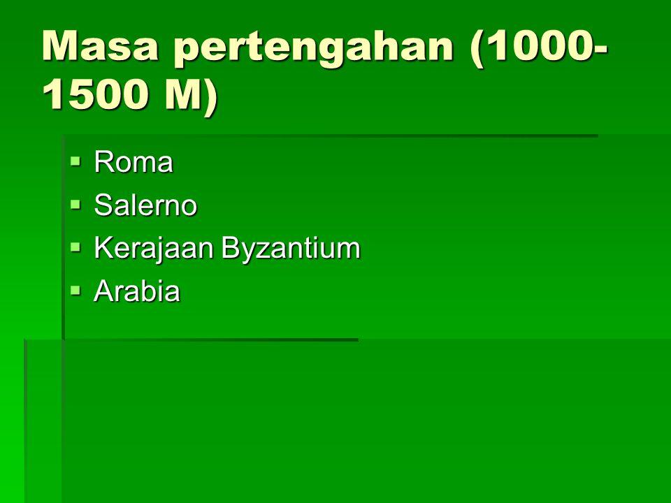 Masa pertengahan (1000-1500 M) Roma Salerno Kerajaan Byzantium Arabia