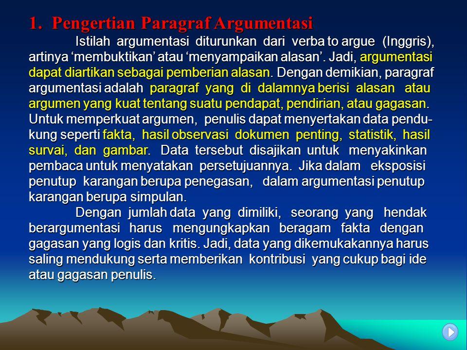1. Pengertian Paragraf Argumentasi