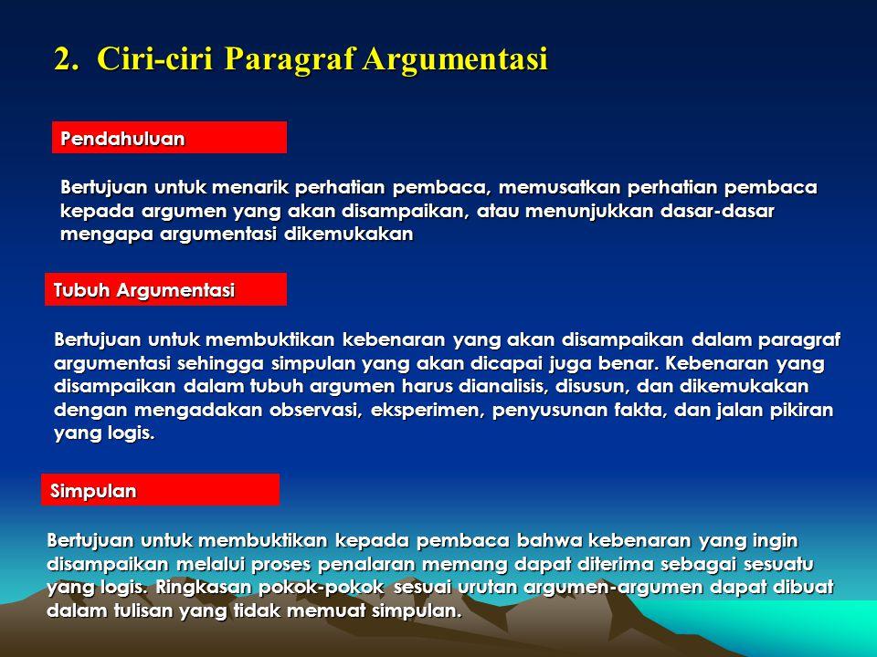 2. Ciri-ciri Paragraf Argumentasi