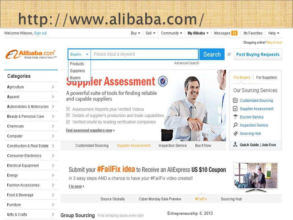 http://www.alibaba.com/ Entrepreneurship 6, 2013