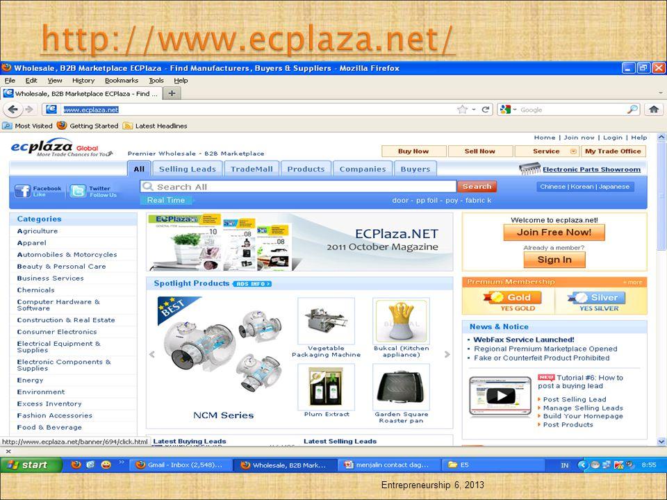 http://www.ecplaza.net/ Entrepreneurship 6, 2013