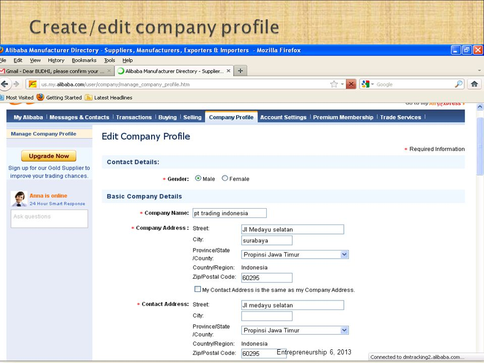 Create/edit company profile