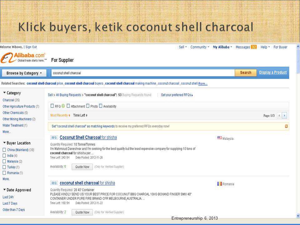 Klick buyers, ketik coconut shell charcoal