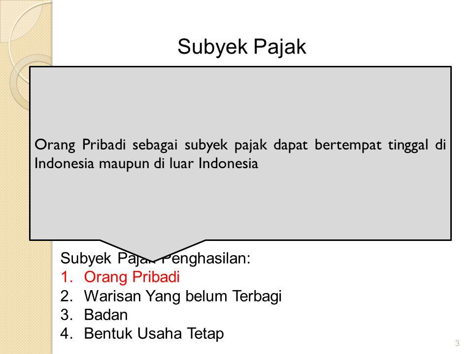 Subyek Pajak Orang Pribadi sebagai subyek pajak dapat bertempat tinggal di Indonesia maupun di luar Indonesia.