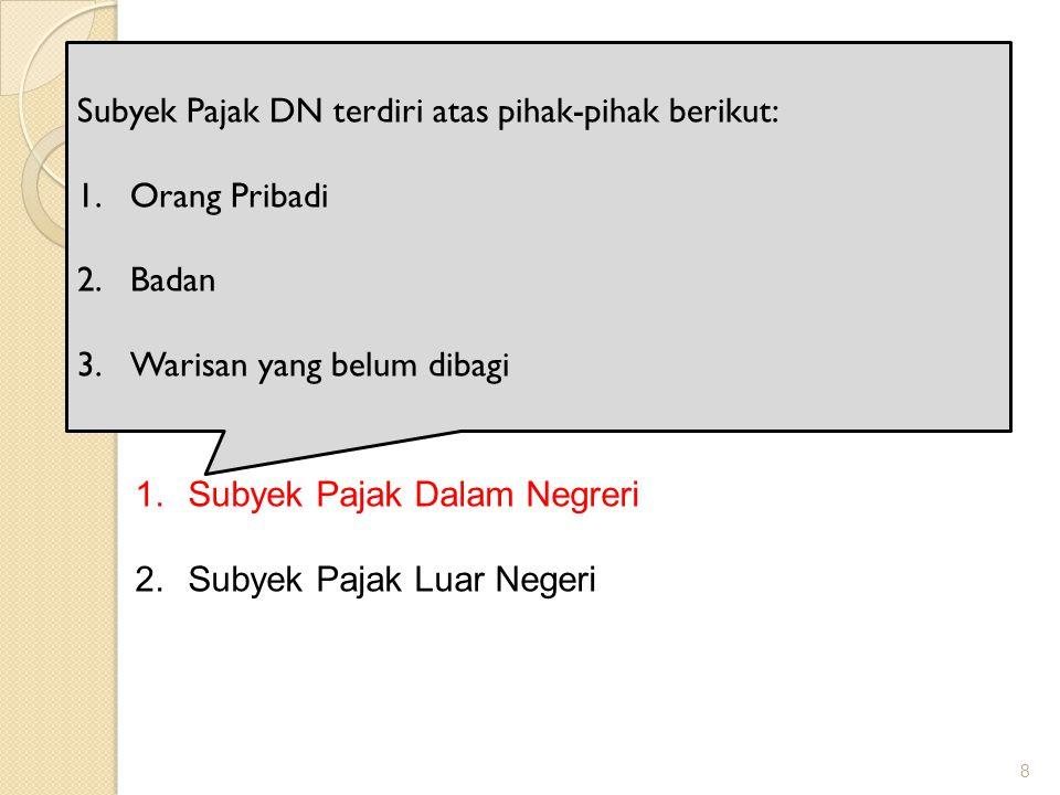 Subyek Pajak Subyek Pajak DN terdiri atas pihak-pihak berikut: