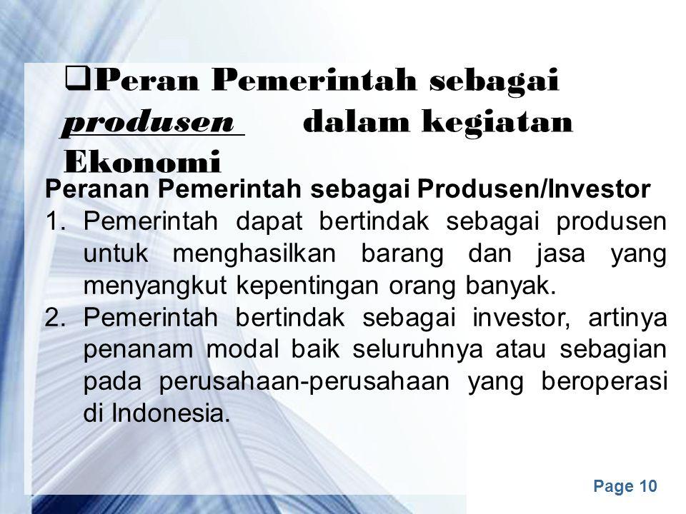 Peran Pemerintah sebagai produsen dalam kegiatan Ekonomi
