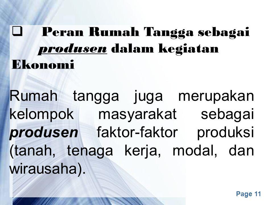 Peran Rumah Tangga sebagai produsen dalam kegiatan Ekonomi
