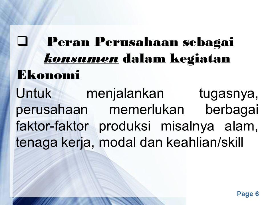 Peran Perusahaan sebagai konsumen dalam kegiatan Ekonomi