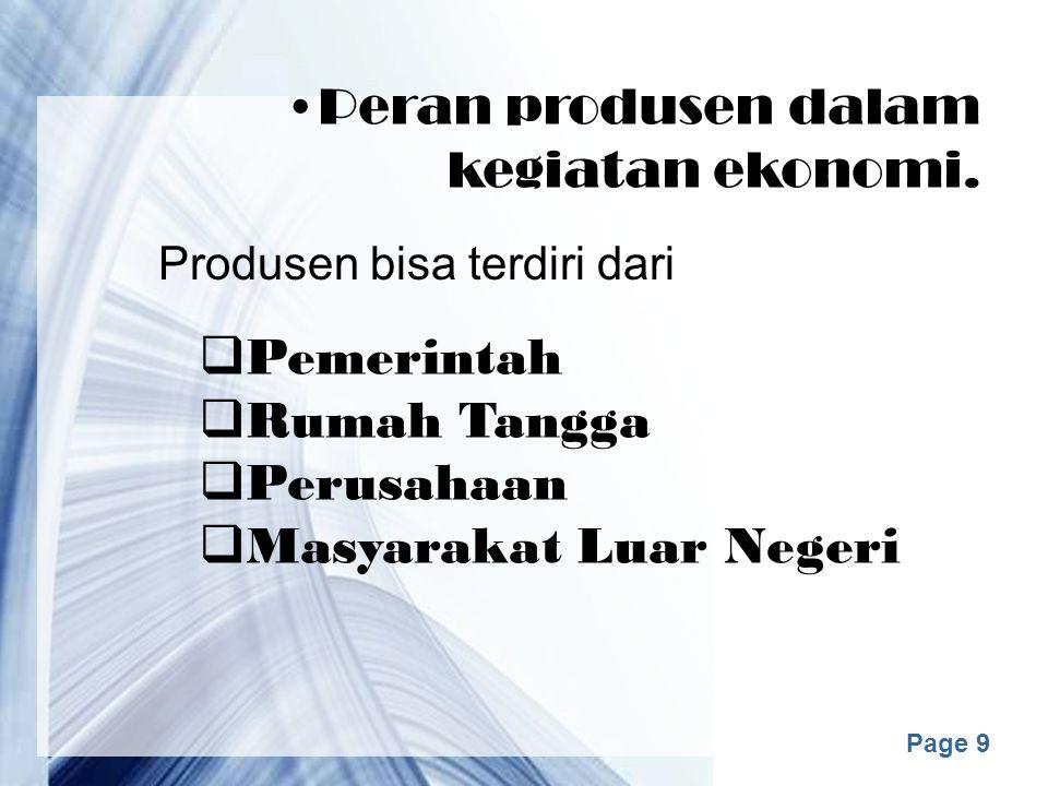 Peran produsen dalam kegiatan ekonomi.